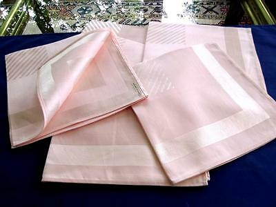 "6 Vintage Toyoba Japan Blush Pink 16"" Napkins Geometric Cotton/Rayon Damask Tags"