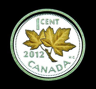 Canadian Gem 2012 Proof Penny Ultra Heavy Cameo 99.99% Pure Silver/Gold Plating