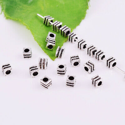 Tibetan Silver Small Cube Metal Spacer Beads Jewelry Findings 3mm Wholesale