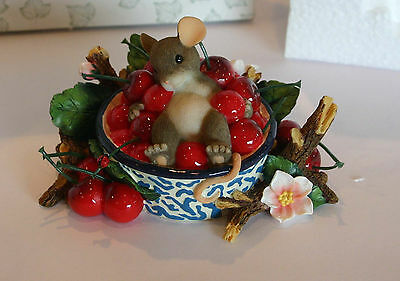 Charming Tails Fitz and Floyd Life is a Bowl of Cherries Figurine