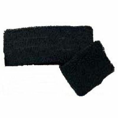 Black sports wrist sweatband pair