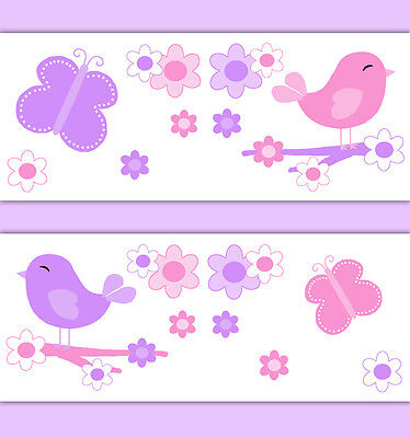 Chickadee Nursery Wallpaper Border Wall Art Decals Girl Floral Butterfly Sticker
