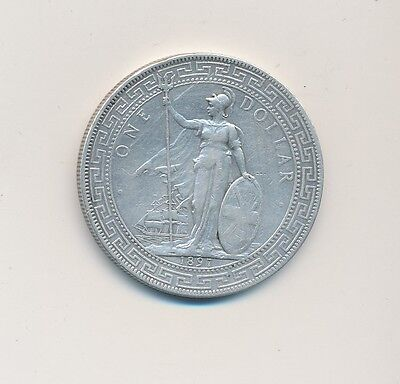 1897 British Silver Trade Dollar-Circulated-Attractive Coin! Ships Free!
