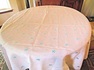 """Vintage Offwhite Linen Tablecloth With Teal Embroidery 60"""" X 100"""" Rectangular"""