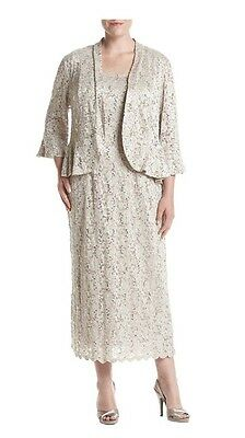 Women's Formal Plus Jacket Dresses Sz 16W in Light Gold/ Taupe Mother of Bride