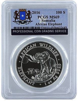 2016 Somalia AFRICAN ELEPHANT 100 Shillings = One Oz .999 Silver Coin PCGS MS-69