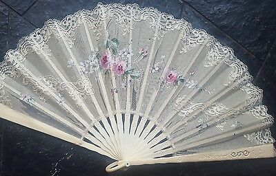 Antique Victorian Era Lace Applique Embroidered Hand Painted Fan