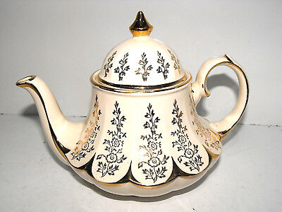 Art Deco Unusually Shaped Sadler Teapot Cream With Floral Pattern & Gold Trim