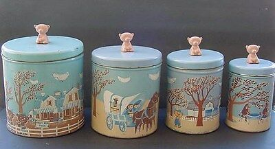 VINTAGE Honey Bear Farm  METAL TIN CANISTERS SET old WISC.