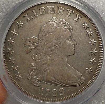 1799 Draped Bust Silver Dollar, Choice Very Fine, PCGS VF-35 Certified Classic