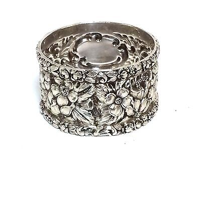 Stieff Sterling Silver Floral Repousse Napkin Rings