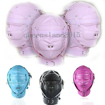 Faux Leather Gimp Hood Head Mask Blindfold Slave Rolyplay Headgear Full Blinded