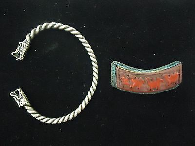 Antique Chinese Export Silver Bracelet and Brooch