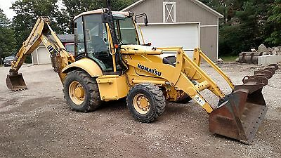 2004 Komatsu WB140 Loader Backhoe 4x4 Extenda Hoe Enclosed Cab