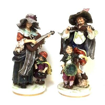 Fine Large Pair of Capodimonte Figurine Group Street Musician Violinist & Guitar