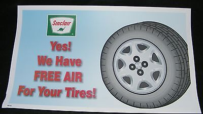 """SINCLAIR GAS & OIL SIGN """"FREE AIR For Your TIRES"""" TRUCK STOP POSTER"""