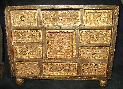 Antique Colonial Bargueño Box Chest Gilt Wood