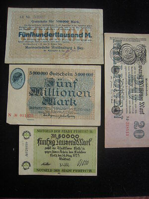 SET 4 – 4 Weimar Republic German Inflated Mark Currency Notes