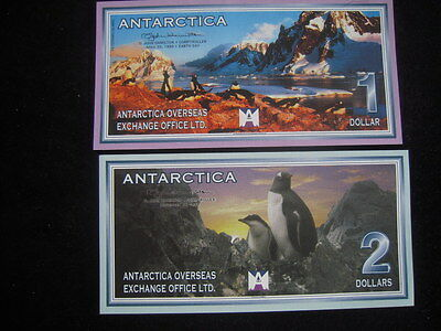 Two 1999 Antarctica 1 & 2 Dollar Uncirculated Condition Currency Notes