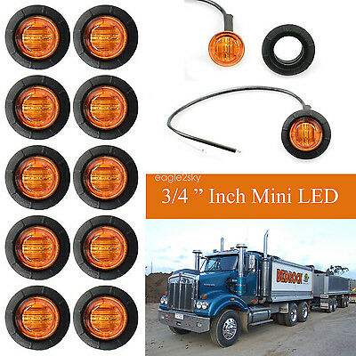 10X 12V Amber Clearance Lights Side Marker Led Trailer Truck Lorry Lamp 3/4''