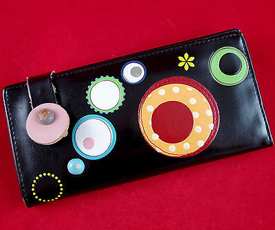 VTG SHAGWEAR Faux Black Leather w/MOD GROOVY DOTS & FLOWERS Checkbook Wallet