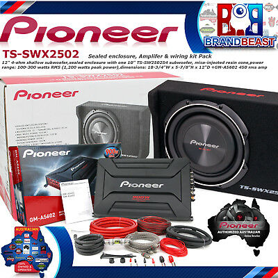 "Pioneer TS-SWX2502 1200w 10"" Shallow Mount Subwoofer Slim Ute Kit Box Gm-a5602"