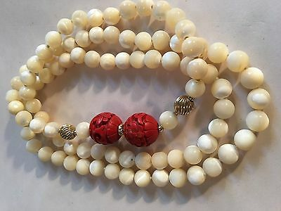 Antique Genuine Pearls Chinese Large Cinnabar Gold Beads Necklace