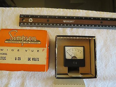 Simpson Wide Vue Model #1212C 0 -25 Dc Volts Nos