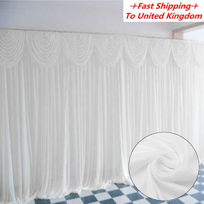 3M X 3M White Stage Wedding Party Backdrop Photography Background Curtain Drapes