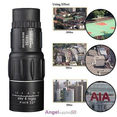 HD 16x52 Dual Focus Zoom Optical Night and Day Vision Monocular Single Telescope