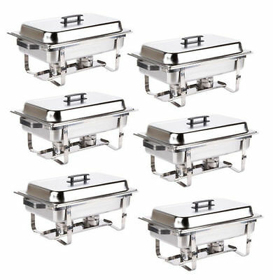 6 Pack Catering Stainless Steel Chafer Chafing Dish Sets 8 Qt Full Size Buffet^^