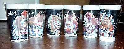 1992 McDONALD'S COKE USA DREAM TEAM CUP SET 6: STOCKTON PIPPEN MALONE BARKLEY +