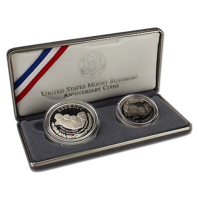 1991 US Mount Rushmore 2-Coin Commemorative Proof Set w/ Box & COA