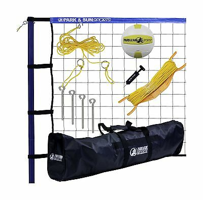 Park & Sun Sports Spiker Sport: Portable Outdoor Volleyball Net System Blue