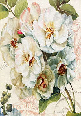 Shabby Chic French Provincial Botanical Rose Flowers Floral Quality Canvas Print