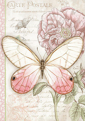 Shabby Chic French Provincial Botanical Butterfly Floral Quality Canvas Print
