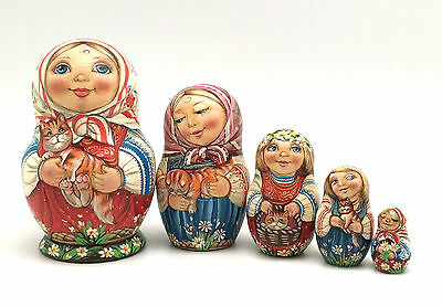 Russian Nesting Dolls Girl w/ Cat Hand Carved Hand Painted UNIQUE Artwork set