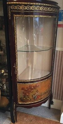 French Louis Style Vernis Martin Ormolu Bow Front Corner Display Cabinet Vitrine