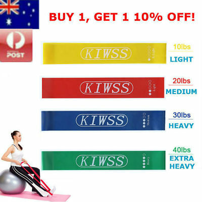 Set Of 4 KIWSS Heavy Duty Resistance Yoga Exercise Band Loop Fitness Gym Sport