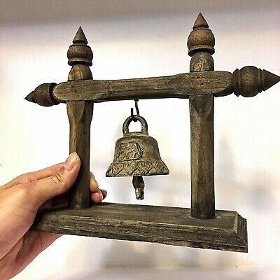 Antique Rare Bells Buddha Amulet Clapper Sound Temple Hanging Old Famous!