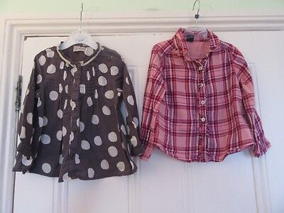18-24m: 2 pretty tops- Grey spotty  blouse (Next) + Pink check shirt (Baby Gap)