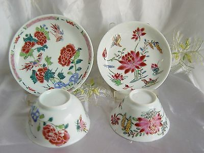 18c Two Chinese export porcelain Familie Rose Yongzheng cups/saucers