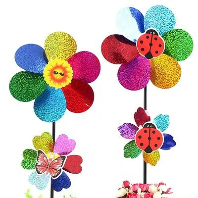 Colorful Sequins Windmill Wind Spinner DIY Home Garden Yard Decoration Kids Toy