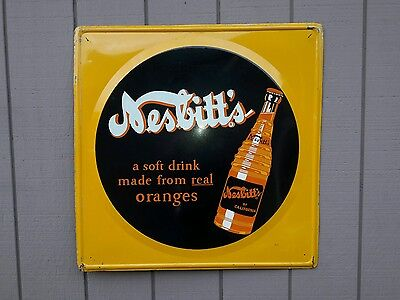 Original VNtg Nesbitts  ORANGE SOFT DRINK STORE DISPLAY Metal SIGN Not Porcelain