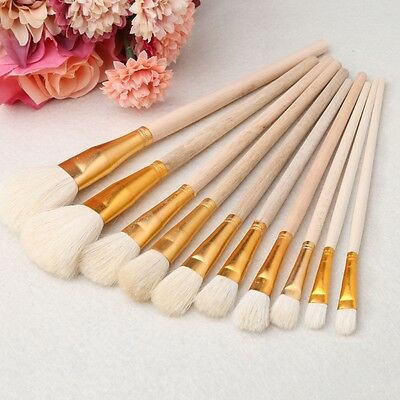 10Pcs Artist Paint Brush Wooden Acrylic Oil Watercolor Art Painting Brushes Set