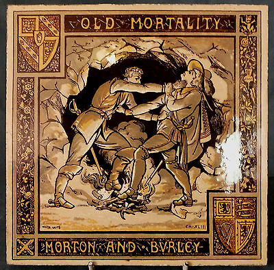 "RARE LARGE 8"" MINTON OLD MORTALITY TILE by JOHN MOYR SMITH"