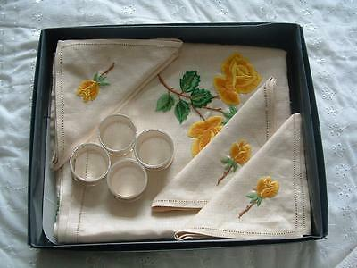 Vintage table cloth embroidered Napkins rings in box never used set job lot.