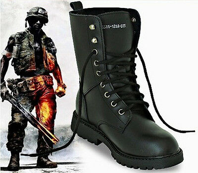 UK Men's Leather Military Boots Army Boots Tactical Lace Up Combat Martin Boots