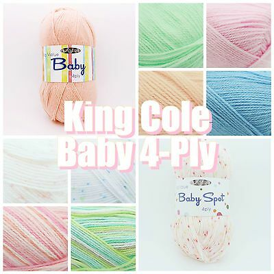 King Cole Big Value Baby, Print + Spot 4 Ply Premium Acrylic 100g Knitting Yarn