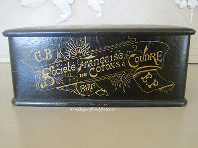 Antique Papier Mache Cartier Bresson French Japanese Style Sewing Box Late 1800s